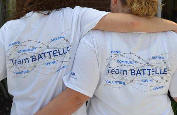 Photo: Two Battelle staff members, young women, standing together during a Habitat For Humanity Project